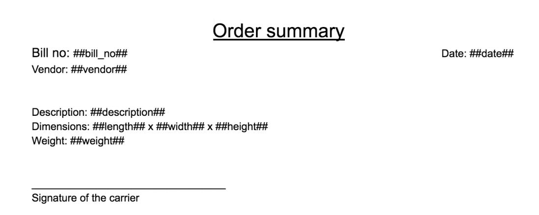 order summary template